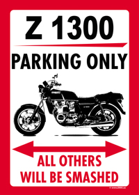 Z 1000 PARKING ONLY sign