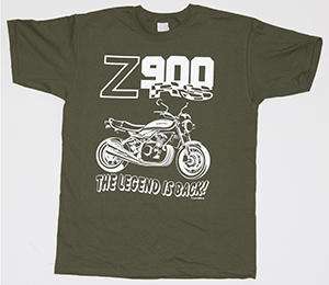 "NEW! The olive-green ""Z900RS THE LEGEND IS BACK"" t-shirt"