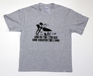 "NEW! Z900.us t-shirt ash grey ""AND ON THE 7TH DAY GOD CREATED THE Z 900"""
