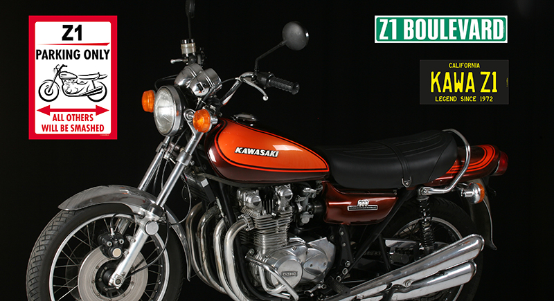 Kawasaki Z1 with Z900.us road signs